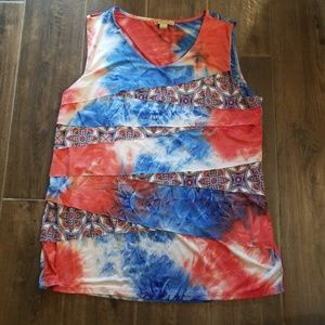 Ruffled, layered ☆Patriotic☆ tie dye swirl tank